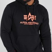 Alpha Industries Basic Hoody Black/Neonorange