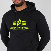 Alpha Industries Basic Hoody Black/Neongelb