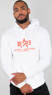Alpha Industries Basic Hoody Weiß/Neonorange